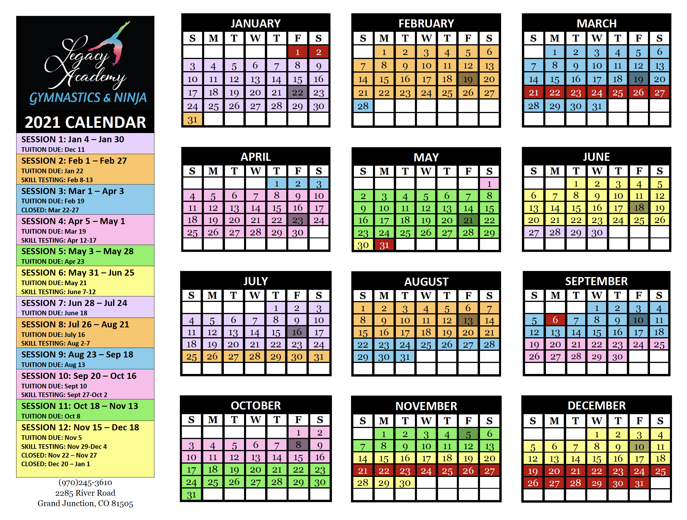 2021 Legacy Gymnastics Ninja Calendar